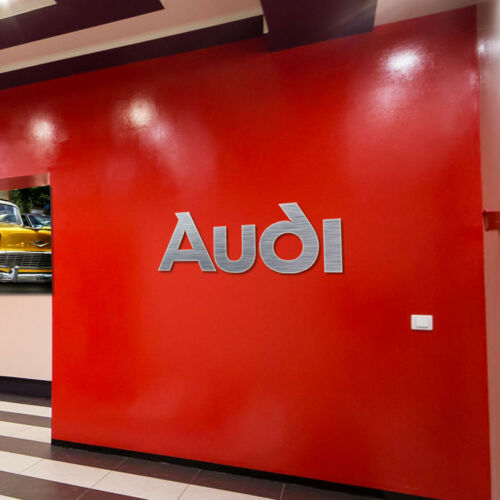 Audi logo Sign Garage Brushed Silver Aluminum Gift Wall decor Logo 3,5 feet wide