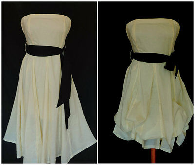 JANE NORMAN COTTON  DRESS SUMMER STRAIGHT or HITCHED SASH BELT STRAPLESS sz 10