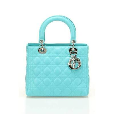 CHRISTIAN DIOR LADY DIOR MED BAG IN AQUA PEARL PATENT LEATHER BRAND NEW