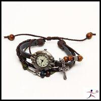 Men Retro Leather Bracelet Decoration Cross Quartz Wrist Watch Zpb15