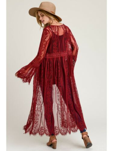 Fall Long Lace Duster in Garnet Burgundy New M Flared Sleeve Button Front
