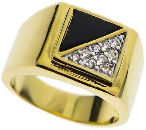 Onyx Noir Diagonale .90 Carat Pierre Zircon Bague Hommes 18k or Taille 13 H96aSAWz-09153004-772516788