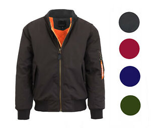 857b5bacb Details about Mens Heavy Weight MA-1 Flight Bomber Jacket Full Zip  Outerwear Coat Colors NWT