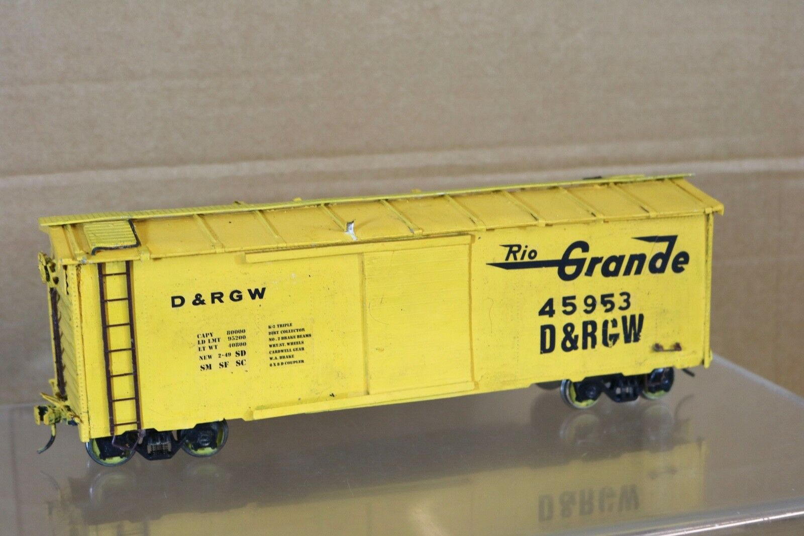 ALL NATION NATION NATION VINTAGE KIT BUILT WOOD O SCALE RIO GRANDE D&RGW BOXCAR WAGON 45958 f0cd93
