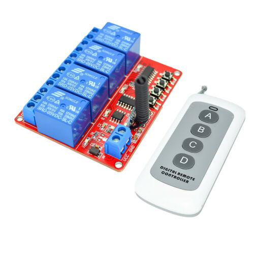 Relay Switch 433M Module 5V 4-way 1000m Long Distance 4-Button Remote