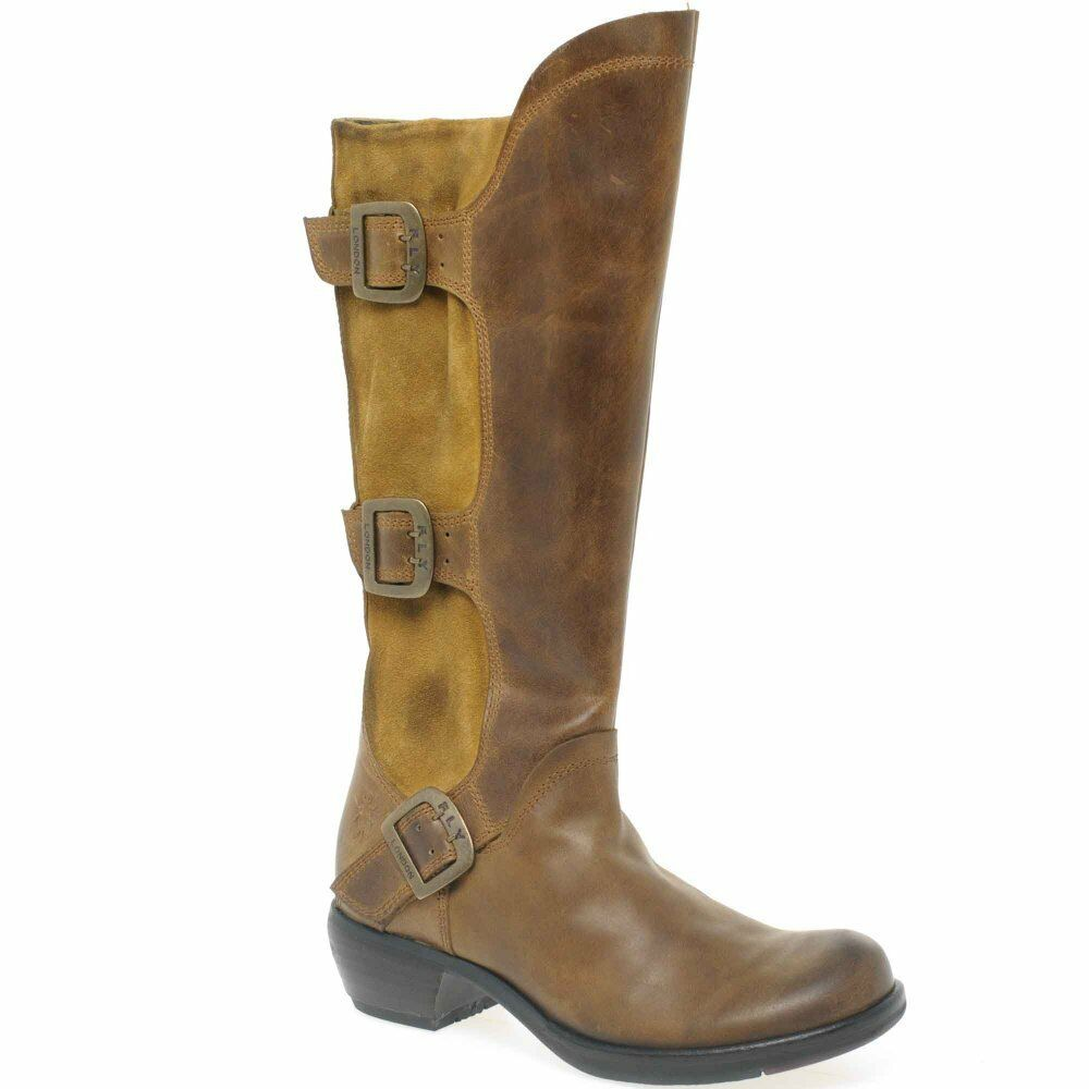 FLY Stiefel LONDON MYND CAMEL LEATHER SUEDE KNEE HIGH BUCKLE Stiefel FLY UK 4 EUR 37 9216b6