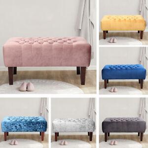 Velvet//Ice Velvet Upholstered Tufted Bench Ottoman Wood Modern Bed Side Bench UK