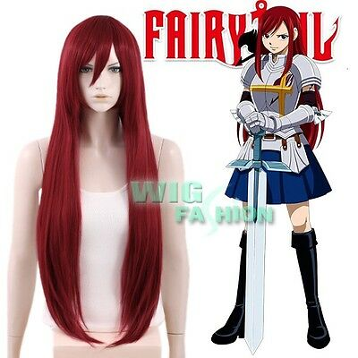 Fairy Tail Erza·Scarlet Long Straight Red Anime Cosplay Wig