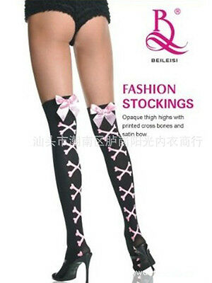 Black  Pink punk lolita CrossBone Skeleton Over the Knee Thigh-High Stockings