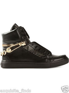 1d8a574d22bc New VERSACE VERSUS Black Studded Leather Sneakers w  Chain   Pin 39 ...