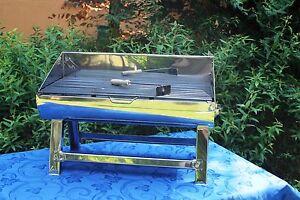 Barbecue grill portatile da tavolo in acciaio per legna o carbonella 60x44 cm ebay - Barbecue portatile a carbonella ...