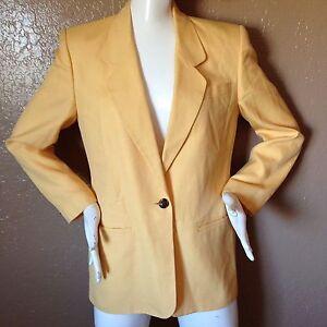 Talbots-Sz-4-Solid-Yellow-Blazer-Single-Button-Jacket-Rayon-Linen-Lined-Italian