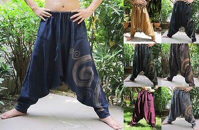 Harem Aladdin Free Size Drop Crotch Trousers Yoga Dance Boho Baggy Hippy Pants