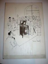 DESSIN CARICATURE 1950 ORIGINAL SIGNE PIERRE LECOMTE