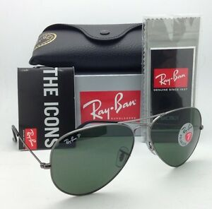 21ea061c23 RAY-BAN Aviator Sunglasses RB 3025 004 58 58-14 Gunmetal Frames ...
