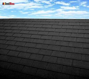 Dachschindeln-12-m-Rechteck-Form-Schwarz-4-Pakete-Schindeln-Dachpappe