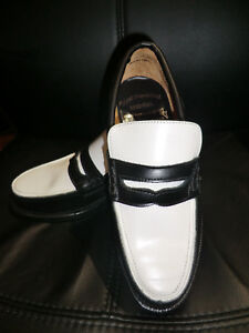 Noir Et Blanc Loafer Vlv Jive New Rockabilly Leather Chaussures RTvXq