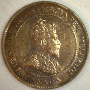 1905-Cuivre-Canadien-Grand-Cents-Piece-de-Monnaie-1-Cent-Canada-VF-3
