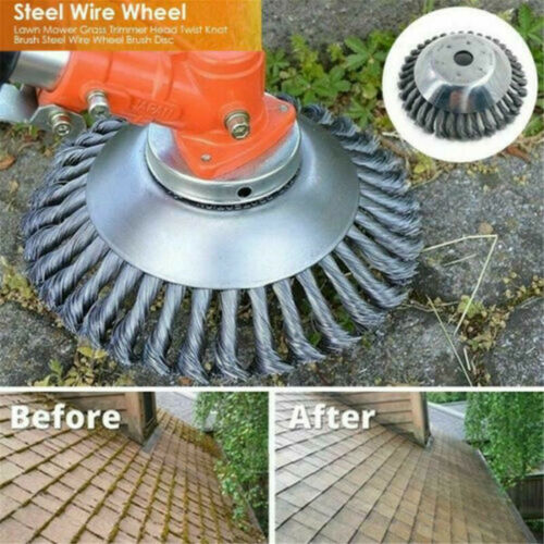 "6/"" Steel Wire Wheel Brush Grass Trimmer Head Weed Cleaning Garden Weed Cutter"