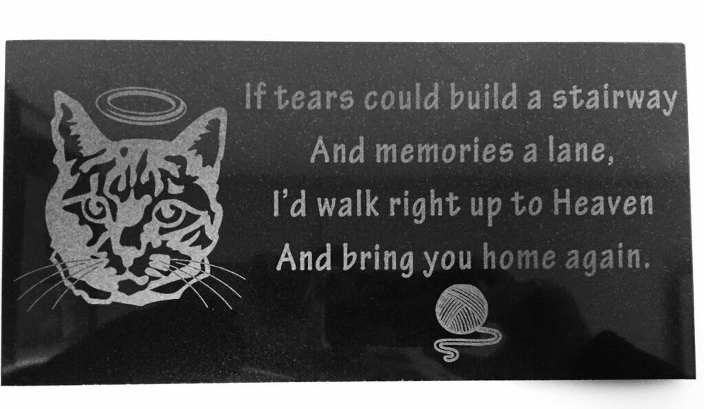 3D Laser Engraved nero Granite Pet Memorial Marker 12 x 6 inches Cat Angel