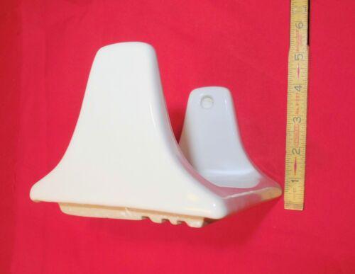 *White* Glossy Ceramic Toilet Paper Holder...holds jumbo//triple paper roll  NEW