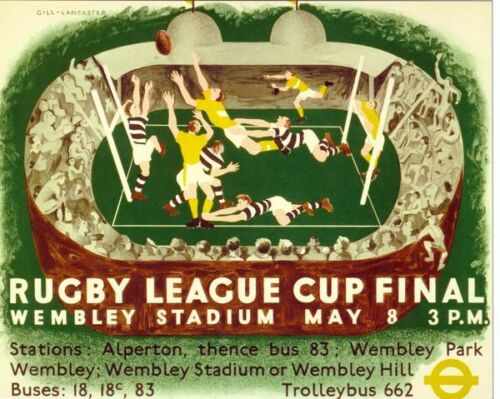 1937 Rugby League Challenge Cup Final Widnes Keighley Poster A3//A2//A1 Print