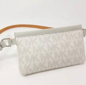 455e4c717e44 Michael Kors 551749C Leather Belt MK Logo Bag Gray Size Medium Fanny ...