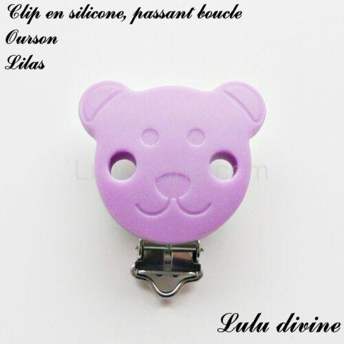 Pince // Clip en silicone attache tétine passant boucle Ourson : Lilas