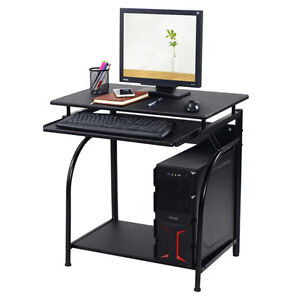 corner computer desk pc laptop small black table spaces workstation home office ebay. Black Bedroom Furniture Sets. Home Design Ideas