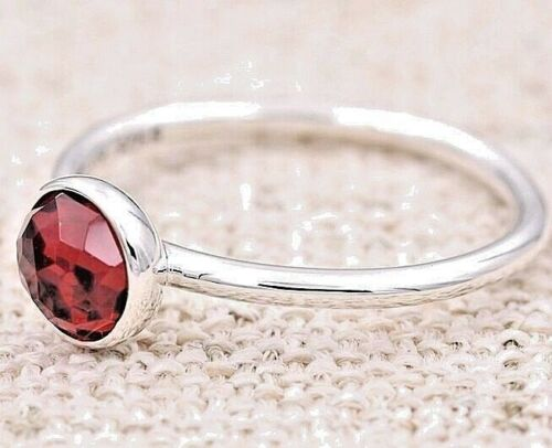 Choose Size JANUARY RED CRYSTAL Droplet .925 Sterling Silver RING