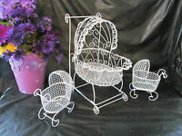 Wire Baby Carriages (set Of 3) For Baby Shower Decorations 1006/1087