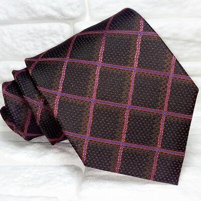 Cravatta Checks Marrone Uomo 100% Seta Made In Italy Handmade Scozzese