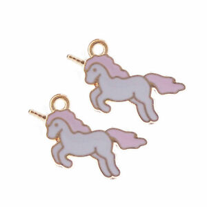 10-pcs-Enamel-Plated-Unicorn-Look-Charms-Pendants-DIY-Crafts-Findings-22x12-MM