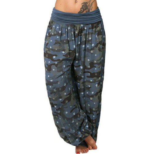 Womens Camo Harem Trousers Baggy Yoga Sports Loose Gypsy Pants Plus Size UK 8-22