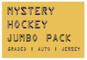 MYSTERY-HOCKEY-JUMBO-PACK-CARDS-Graded-Auto-039-d-amp-Jersey-Hits-100-200-BV
