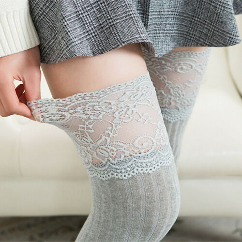 Women Over The Knee Socks Lace Casual High Pantyhose Knitting Soft Long Stocking