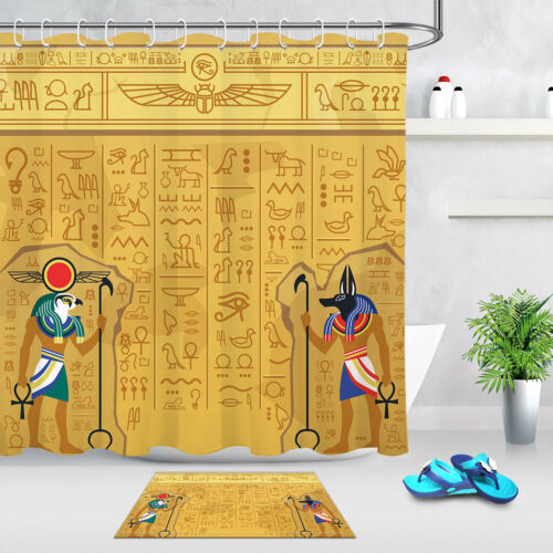 Cartoon Design Ancient Egyptian Hieroglyphics Bathroom Fabric Shower Curtain Set