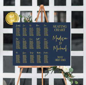 Seating Chart Wedding.Details About Seating Chart Wedding Signs Gold And Navy Custom Wedding Wedding Seat
