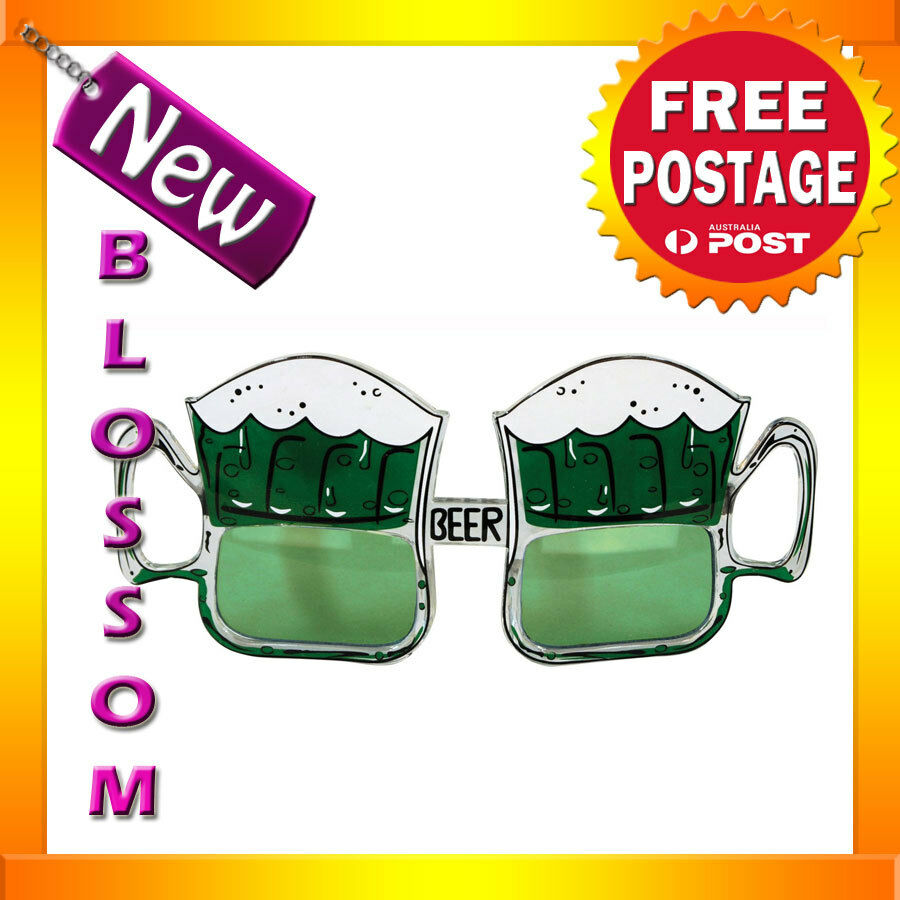 A236 St. Patrick Beer Mug Glasses Green Irish Costume Glasses