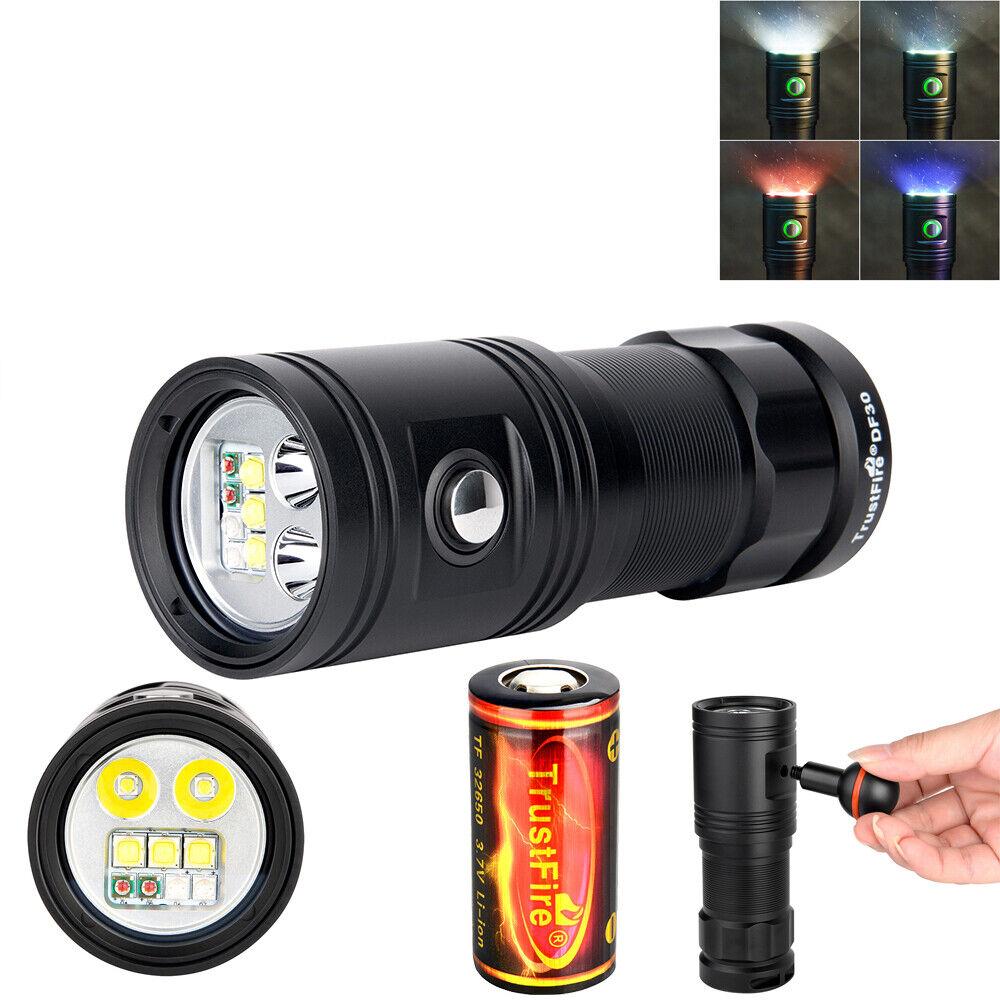 Trustfire DF30 Plongée Lampe DEL 2350 LM plongée vidéo photo torche 100 M +32650 Batterie
