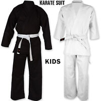 Kids Karate Suit Martial Arts Uniform Juinor Free Belt All Sizes Black/White