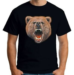 cfea558d Velocitee Mens Bear Bite T Shirt Big Animal Head Face Evil Grizzly ...