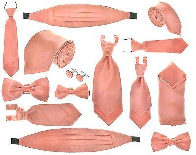 Handkerchief Or Cufflinks Or Full Set Boys Coral Satin Pre-Tied Wedding Cravat