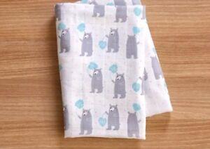 Grey-Bear-100-Cotton-Double-Gauze-fabric-Muslin-Cute-bears-Lightweight-JG19