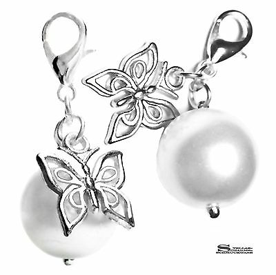 CHARM ANHÄNGER PERLE 14 MM MIT SCHMETTERLING BUTTERFLY CHARMS SILBER TRÄGER