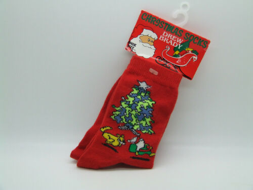 CHRISTMAS CHILDRENS SOCKS RED WITH CHRISTMAS TREES 0-2 3-5 6-8 size