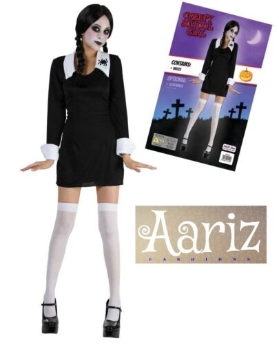 Creepy School Wednesday Addams Girl Ladies  Fancy Dress Halloween Costume 4-14