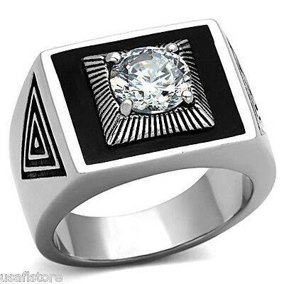 Mens Mounted 1.97ct Clear CZ Stone Silver Stainless Steel Ring