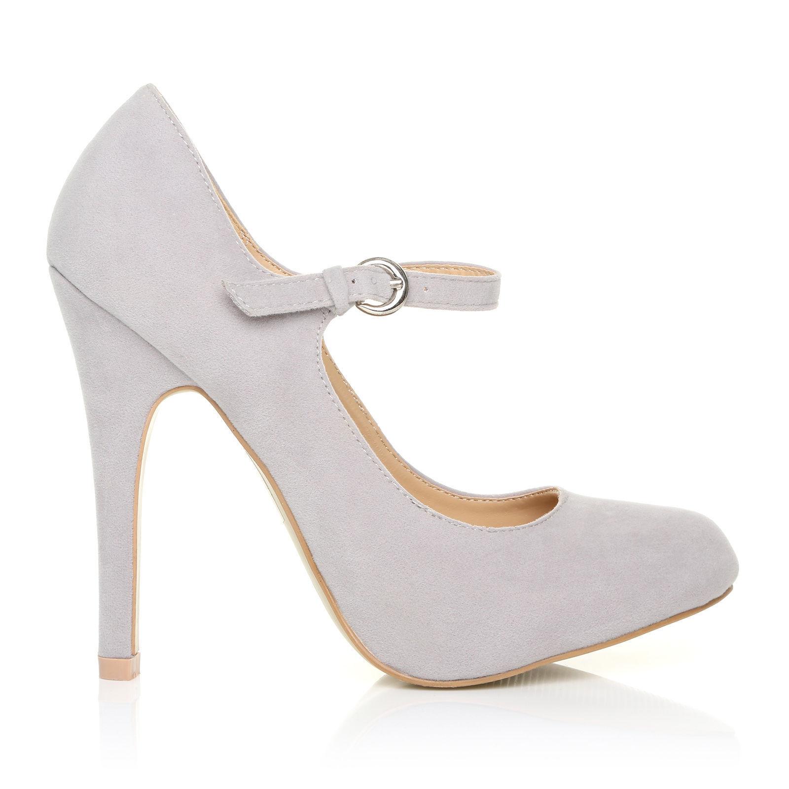 9d5901cc645 Womens Mary Jane Strap Court Shoe High Heel PUMPS Suede Patent Ladies Grey  Suede UK 4 EU 37 for sale online