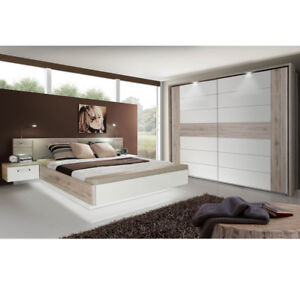 schlafzimmer komplett 1 rondino sandeiche hochglanz wei inkl led ebay. Black Bedroom Furniture Sets. Home Design Ideas